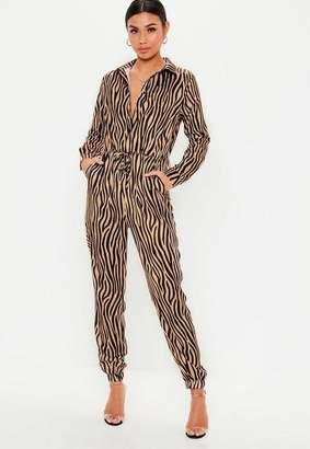 9edbb4908945 Missguided Brown Zebra Print Utility Jumpsuit