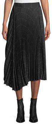 Vince Pleated Draped Plaid Midi Skirt