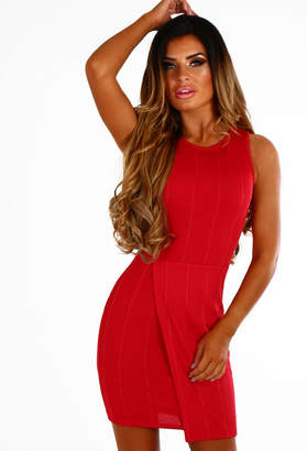 Pink Boutique Sweet Persuasion Red Bandage Effect Wrap Mini Dress