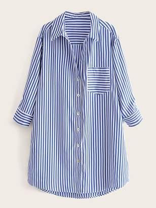 Shein Pocket Front Curved Hem Striped Shirt Dress