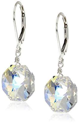 Swarovski Sterling Silver with Elements Crystal Aurora Borealis Octagon Earrings