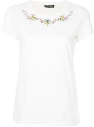 Twin-Set jewel embellished T-shirt $180.96 thestylecure.com