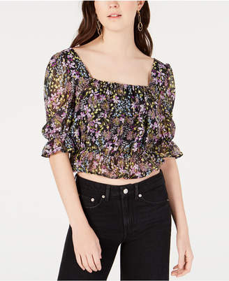 Material Girl Juniors' Printed Ruffle-Trimmed Crop Top