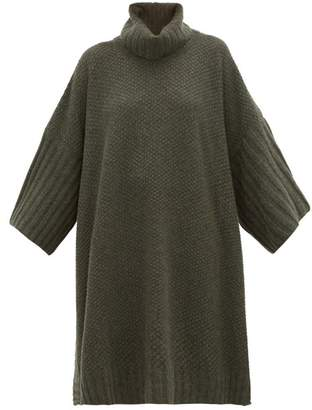 eskandar Moss Stitched Roll Neck Cashmere Poncho - Womens - Khaki