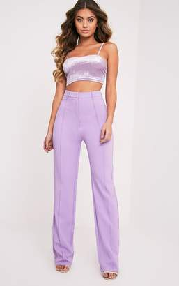 PrettyLittleThing Blue High Waisted Straight Leg Trouser