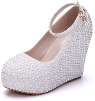 954e42f15b2 Minishion Womens Hidden High Platform Pearl Beading Wedge Heel Ivory  Wedding Evening Shoes US 5.5