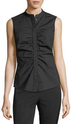 Theory Ruched Fitted Stretch-Cotton Top