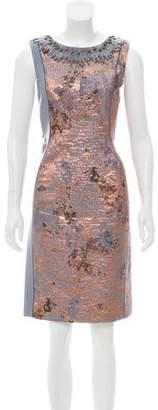 J. Mendel Leather-Accented Brocade Dress