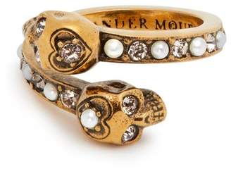 Alexander McQueen Skull Faux Pearl And Crystal Embellished Ring - Womens - Gold