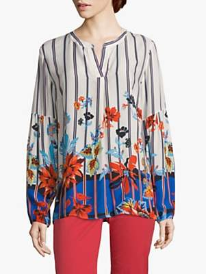 Betty Barclay Floral Print Blouse, Cream/Dark Blue