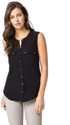 Le Château Women's Snap Front Sleeveless Utility Blouse,XS