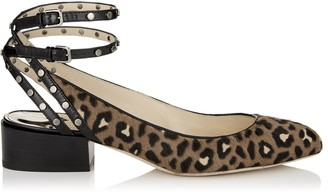 Jimmy Choo DANIELA 30 Hazelnut Mix Leopard Print Pony Round Toe Pumps