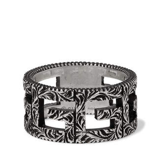 Gucci Engraved Burnished Sterling Silver Ring - Men - Silver