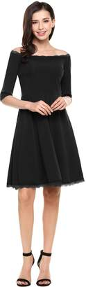 Bardot Meaneor Women's Slim Fit Lace Trim Off Shoulder Skater Dress
