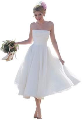 JoyVany Tea Length Strapless A-Line Wedding Dress 20 Summer Beach Wedding Gown