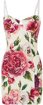 Dolce & Gabbana Floral-print Stretch Silk-blend Mini Dress - White