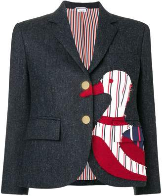 Thom Browne Navy Frayed Duck Classic Sport Coat