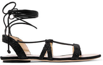 Cult Gaia Sienna Woven Raffia And Leather Sandals - Black