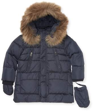 ADD Fox Fur Trimmed Hooded Jacket