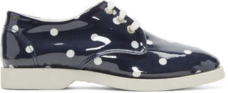 Comme des Garcons Navy and White PVC Polka Dot Sneakers