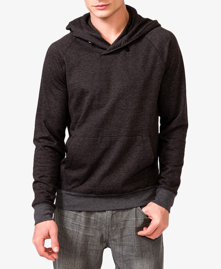 Forever 21 21 MEN Loop-Button Hooded Pullover