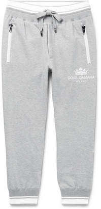 Dolce & Gabbana Tapered Striped Loopback Cotton-Blend Jersey Sweatpants