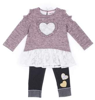 Little Lass Cold Shoulder Lace Layered Sweater & Knit Denim Jeans, 2-Piece Outfit Set (Baby Girls & Toddler Girls)