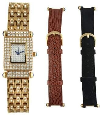 Peugeot Women's 691G Crystal-Accented Gold-Tone Watch with Two Interchangeable Leather Bands