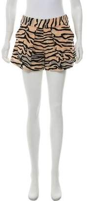 Rebecca Taylor Animal Print Mini Shorts