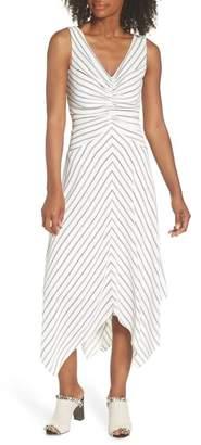 Maggy London Stripe Ruched Handkerchief Hem Dress (Regular & Petite)