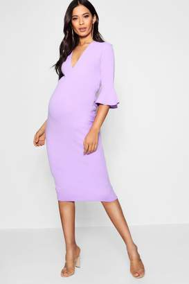 boohoo Maternity Plunge Neck Midi Dress
