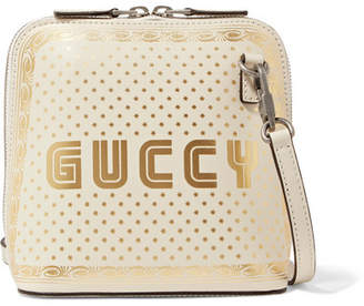 Gucci Guccy Printed Leather Shoulder Bag - Ivory