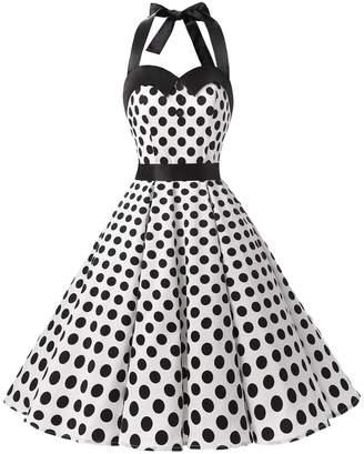 Dressystar Vintage Polka Dot Retro Cocktail Prom Dresses 50's 61's Rockabilly Bandage S