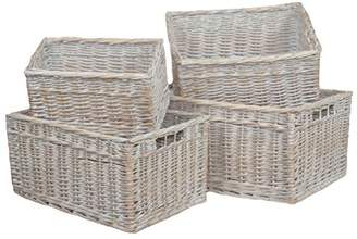 Camilla And Marc Red Hamper White Wash Storage Open Baskets Set of 4, Wicker, Brown, 23 x 47 x 34 cm