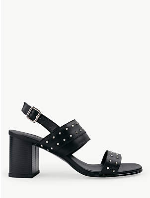 Hush Bampton Stud Detail Block Heel Sandals, Black Leather/Silver