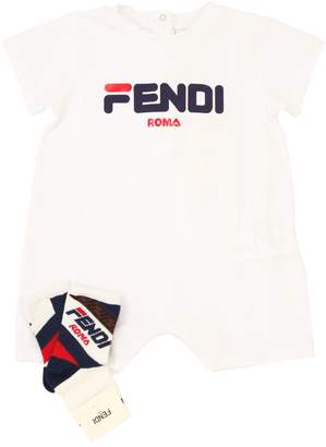 Fendi Mania Cotton Romper & Socks