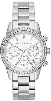 Michael Kors Women's Ritz Studded Stainless Steel Chronograph Bracelet Watch MK6428