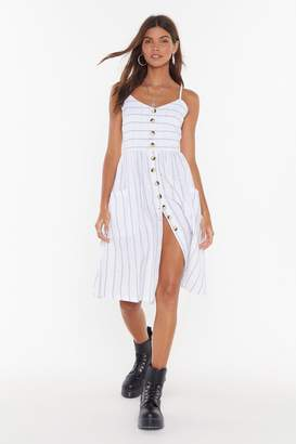 Nasty Gal Womens Line 'Em Up Striped Button-Down Midi Dress - White - S