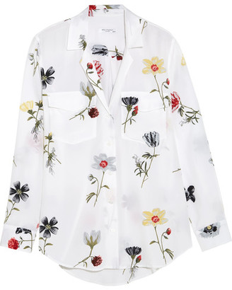 Equipment - Ansley Floral-print Washed-silk Shirt - White $280 thestylecure.com