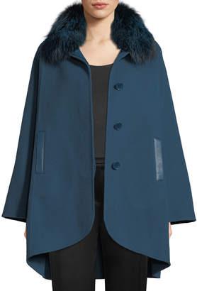 Elie Tahari Howie Fox-Fur Collar Button-Front Jacket