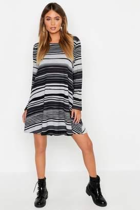 boohoo Knitted Stripe Swing Dress