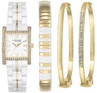 Anne Klein Women's Swarovski Crystal Embellished Quartz Watch, 22mm x 31mm - 4-Piece Box Set