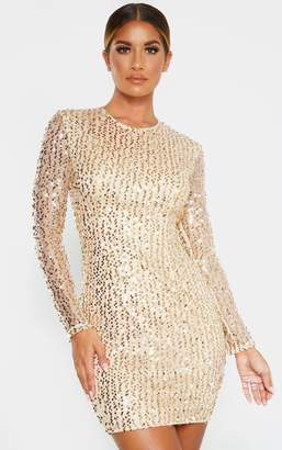 PrettyLittleThing Gold Sequin Long Sleeved Bodycon Dress