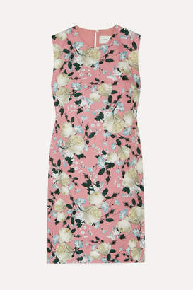Erdem Rivanna Pleated Floral-print Cotton-drill Dress - Pink
