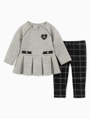 Calvin Klein girls 2-piece peplum tunic + windowpane leggings set