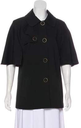 Trina Turk Cape-Accented Button-Up Jacket