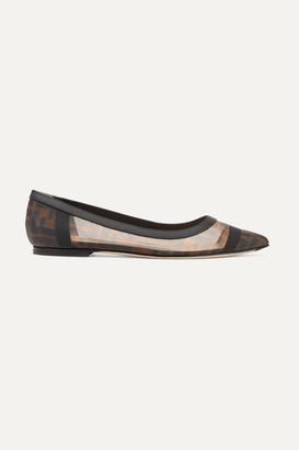 Fendi Colibri Leather-trimmed Logo-print Mesh Point-toe Flats - Brown