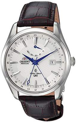 Orient Men's 'Polaris GMT' Japanese Automatic Stainless Steel and Leather Dress Watch
