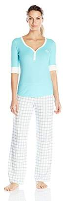 Tommy Hilfiger Women's Elbow SLV Henley/Logo Pant Set