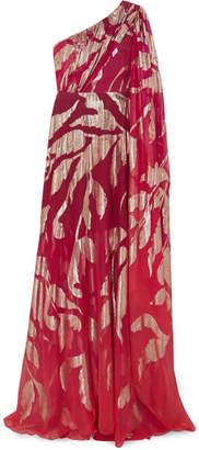 Peter Pilotto One-shoulder Fil Coupé Silk-blend Georgette Gown - Crimson